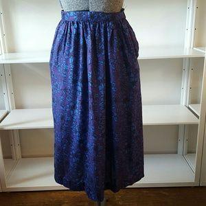 Vintage Purple Floral Midi Skirt